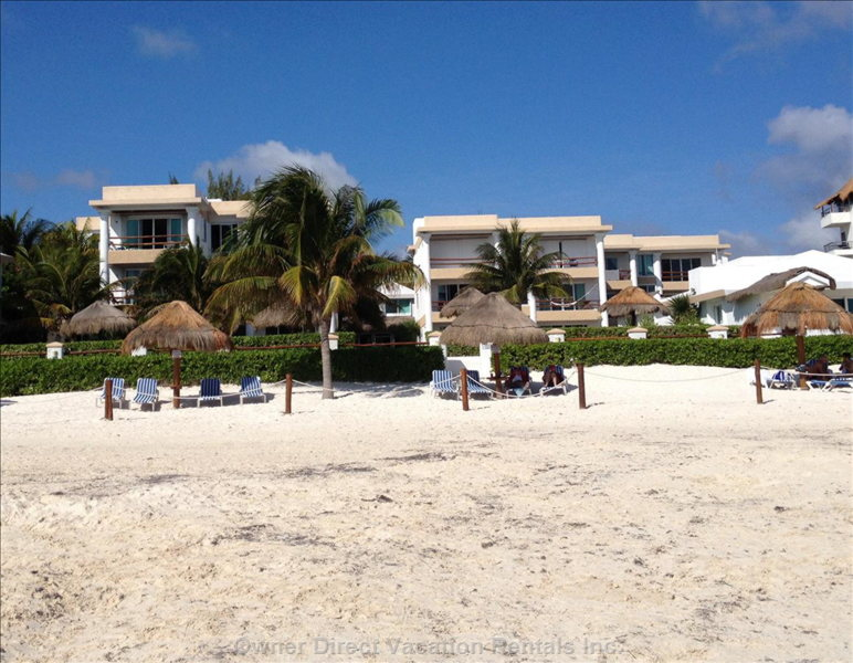 Casita Blanca Complex from Beach. Our Condo is on the Upper Left.