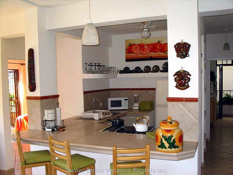 Fully Equipped Kitchen. Occupies the Entire Floor Encompassing 1000 Square Feet of Living Space.