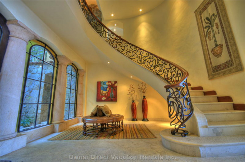 Spiral Staircase in Foyer