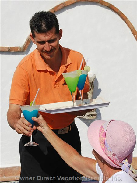 Samuel Serves Drinks on the Pool Deck at 4:30 with Special Drinks for the Kids