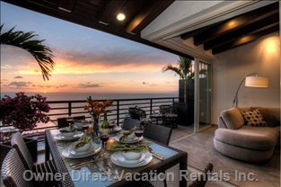 Spectacular sunset and ocean views