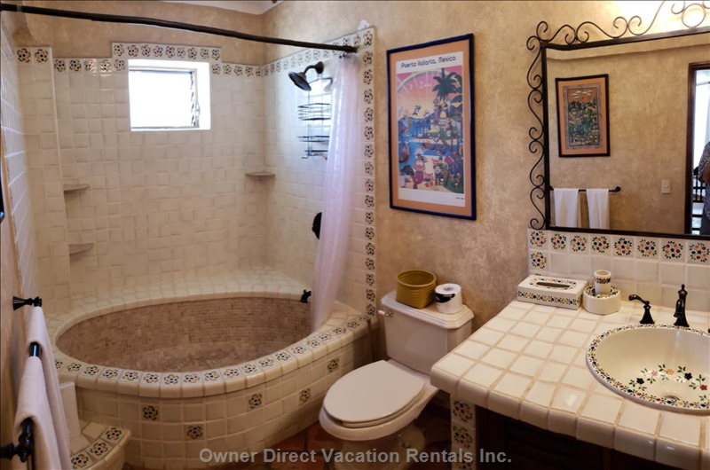 Bright and Airy Master Bathroom. Both Br Have Mexican Hand Painted Tiles and Sinks