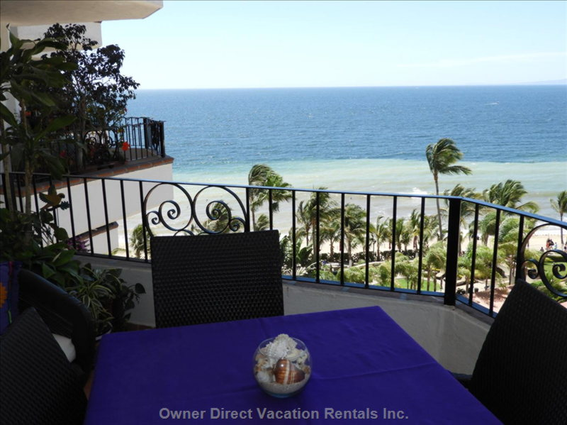 Enjoy Dining on a Large Balcony Overlooking Playa Los Muertos and the Malecon