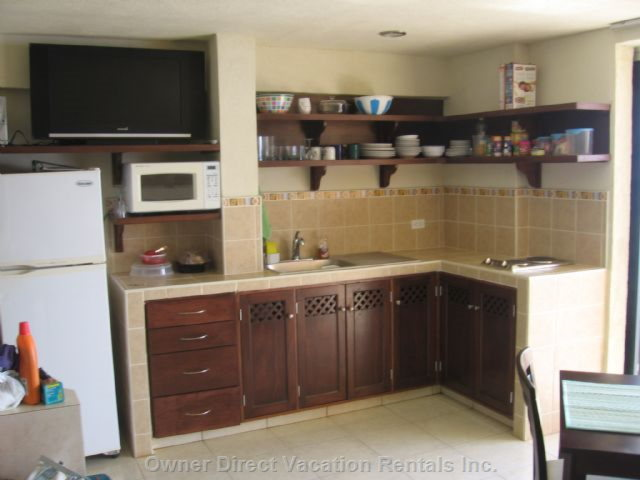 Kitchenette W/ Built-in 2 Burner Stove, Microwave, Fridge