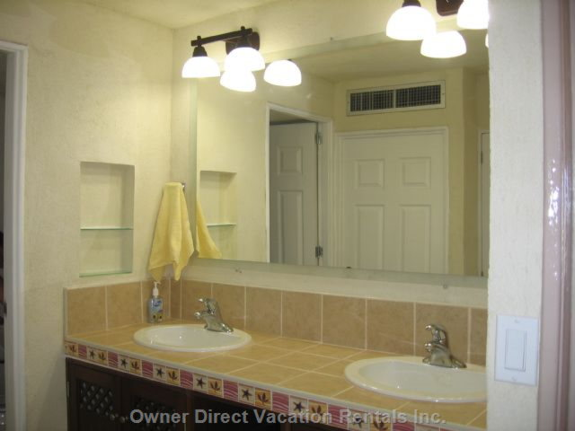 Powder Room with Double Sinks, Separate Shower & Toilet