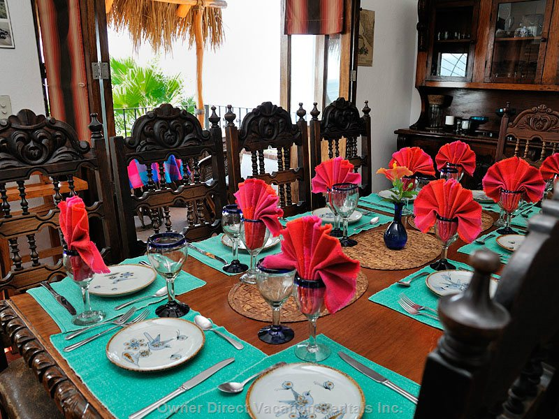 Dining Room Seats 12 with Large Palapa-covered Balcony for Breakfasts
