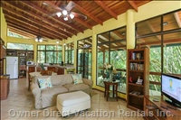 Beautiful Wood Ceiling of Kitchen, Dining and Living Room Area. Flatscreen Tv, Dvd Player, Wifi, Phone, Games, Books.