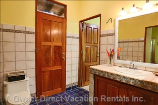 Large Upstairs Bathroom with Lots of Light and Gorgeous Italian Tile.