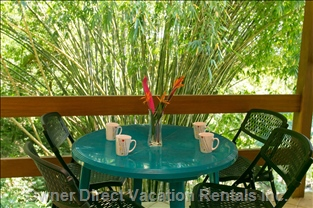Relax on the Upstairs Jungle Deck While Having your Morning Coffee.