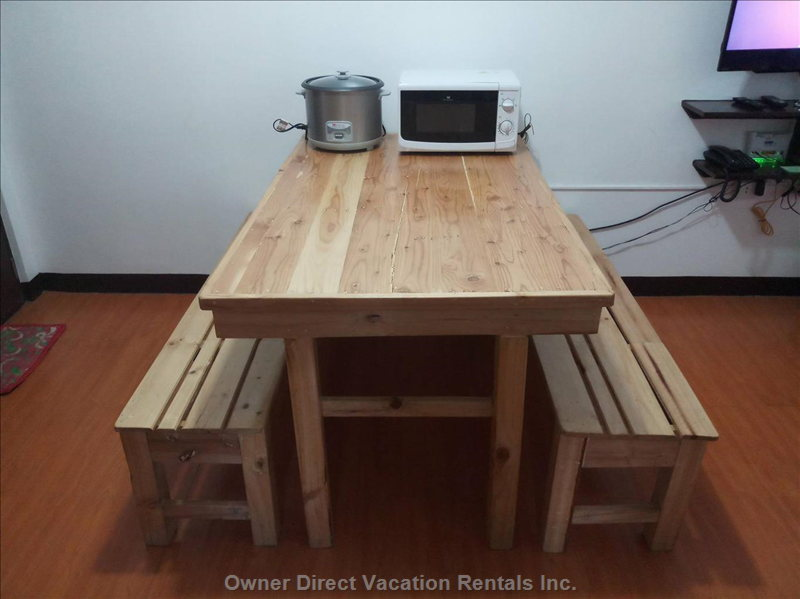Dining Table with Microwave Oven  and Rice Cooker