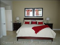 King Size Bed in Master, with 8 Foot French Doors, Leading out to Pool Area. Also Brand New Hd, 3d 47' Smart Tv in Master Suite