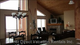 Family Room - Access to Private Deck with Hot Tub