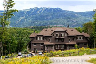 Exterior of the Building & View of Mont Tremblant - this is the View When you Arrive in Front of our Property