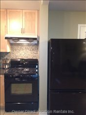 Brand New 5 Burner Gas Stove with Convection Oven and New Matching Fridge with Bottom Freezer