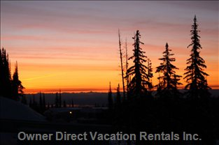 View of the Monashee Mountains at Sunrise.
