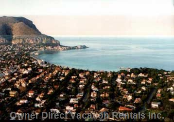 Palermo: Mondello Beach, Panoramic Picture.