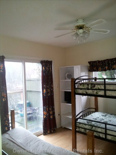 2nd Bedroom has Three Beds-- a Set of Bunk-Beds and Double Futon