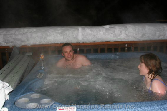Private Hot Tub - Enjoying the Private Hot Tub