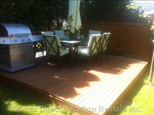 Spacious Deck with Comfy Outside Table and Chairs with Umbrella and Large Bbq. Entrance to Suite is Just a few Steps Away.