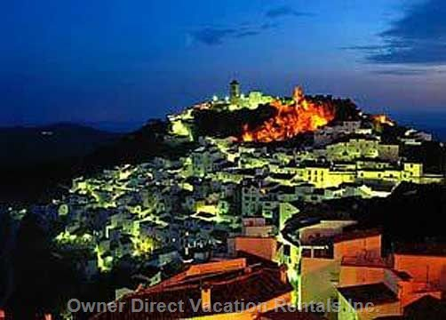 Nearby White Village of Casares at Night