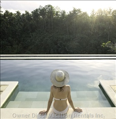 Sitting on Steps - in Front of Infinity Pool with Beautiful View of River Valley