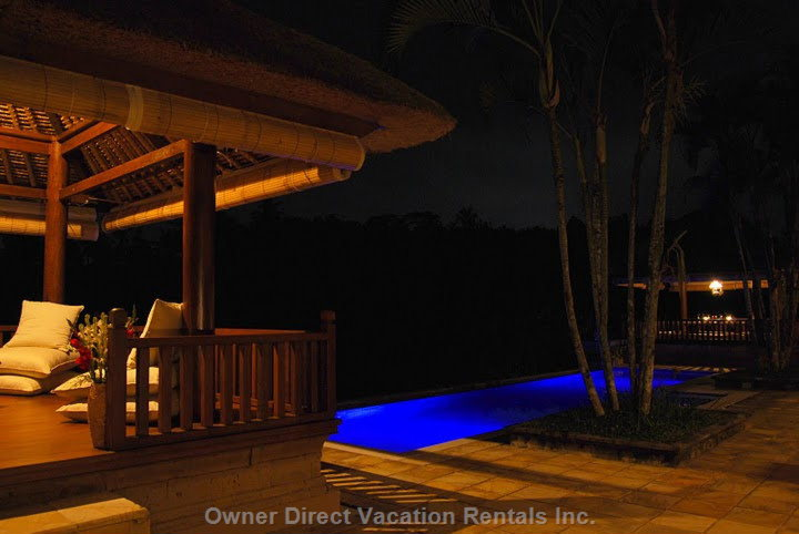 Another Night Time View - Sitting Bale/Pool View