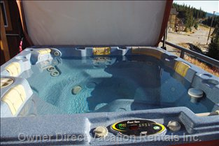Enjoy a Luxury 7 Seat Hot Tub with East Lift Cover. the Hot Tub is Maintained by Big White Spa Service Weekly