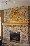 Stone Gas Fireplace and Fan. Enjoy the Warmth and Comfort of a Fireplace
