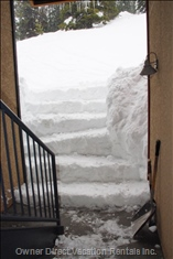 Big White Gets Lots of Snow ....8 Snow Stairs to Get to Ski Run