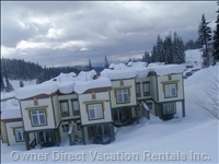 Back View.....Ski Right to your Door.  Your Unit and Private Hottub is the Third from the Right.