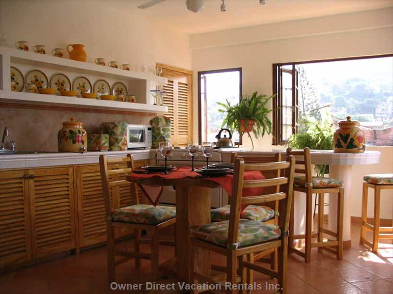 Fully Equipped Kitchen with Beautiful Views of the Hills and Valley of Puerto Vallarta