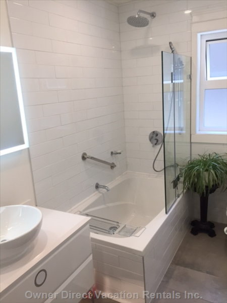 Newly Renovated Bathroom with Rain Shower and Large Soaker Tub