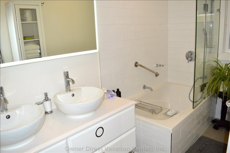 Great Led Mirror with Two Sinks