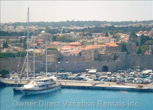 Medieval City and Kolona Harbor - View from the Cruise Boat Harbor to the Medieval City