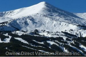 Breckenridge Ski Area. Condo has Private Deck with Swing and Patio Furniture for Enjoying Views and River Sounds.