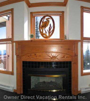 Fireplace with Large Window above and on both Sides
