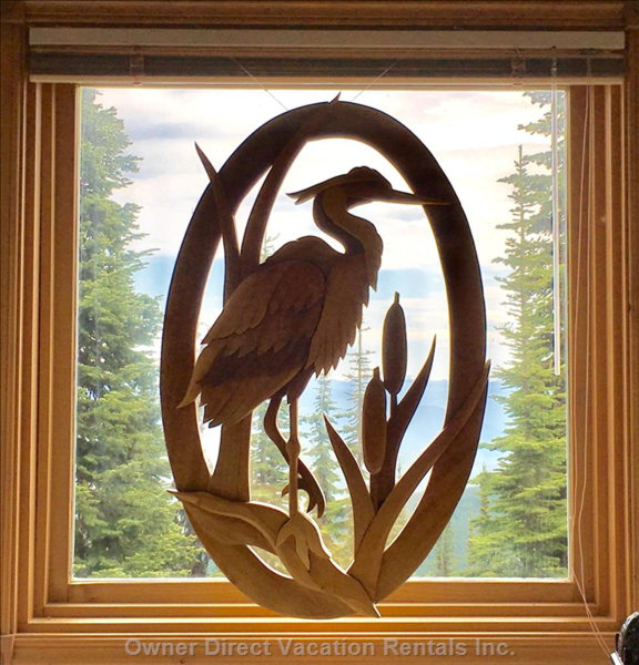 Wood Carved Heron Detail