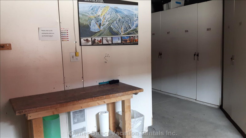 Shared Building Ski/Bike Storage with Waxing Table on Ground Level