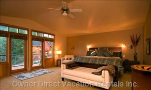 Master Bedroom - Private, Fireplace, Jacuzzi Tub, TV.