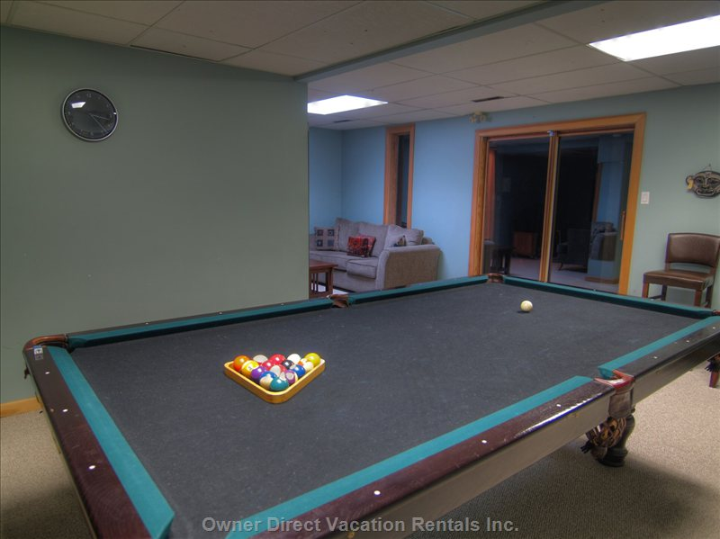 Family Room, TV, Couch, Pool Table