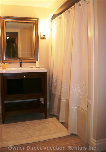 Recently Renovated Bathroom with Tub and Shower and many Extras. Fine Soaps, Shampoos, Creams, Hair Dryer and so much More.