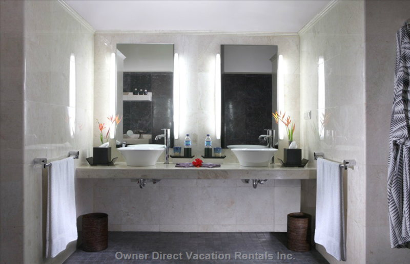 Bathroom with Double Vanities in Twin Bedroom (Similar but May Not be this Unit)