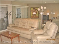 Living Room Leather Sofa/Sleeper & Leather Recliner