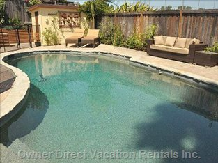Solar Heated Pebble Tec Pool with Resort Quality Loungers