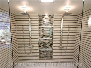 Oversize Dual Waterfall Shower Heads  - Walk in Shower with Massage Jets.