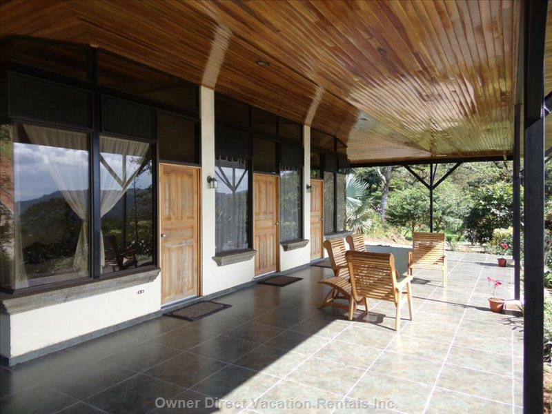 Large Open Patio Overlooks the Gardens and Mountains to the Pacific Ocean and Nicoya Gulf and Islands