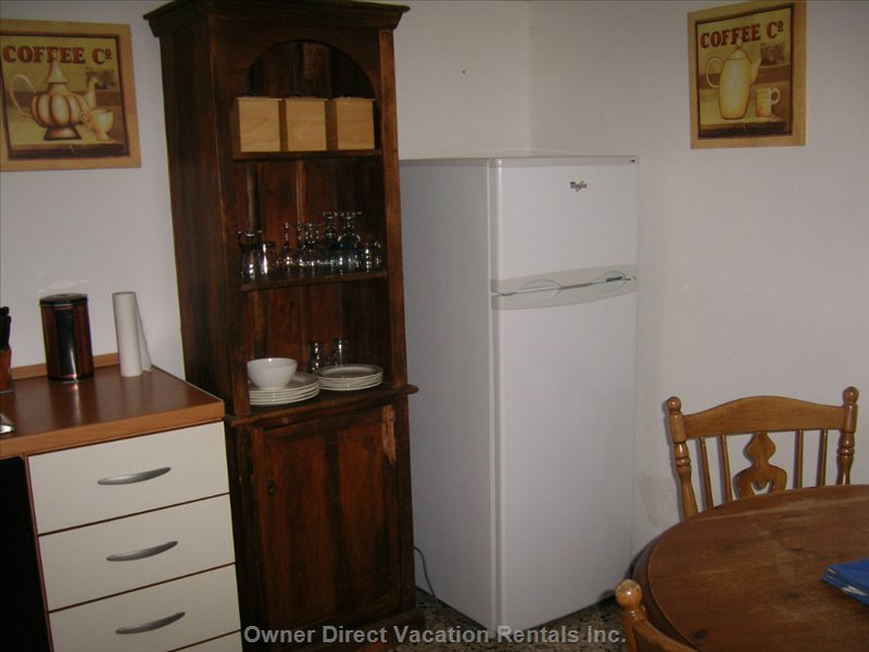 Brand New Fridge and Freezer, Old Wooden 'pantry'