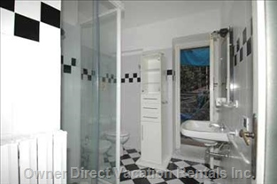 Large Bath with Shower with little Balcony Wash Machine.