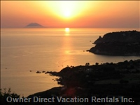 Sunset from Monte Poro - with Santa Maria Bay and Stromboli on the Horizon.