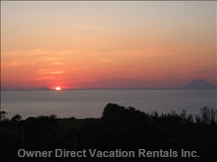 Aeolian Islands and Stromboli at Sunset